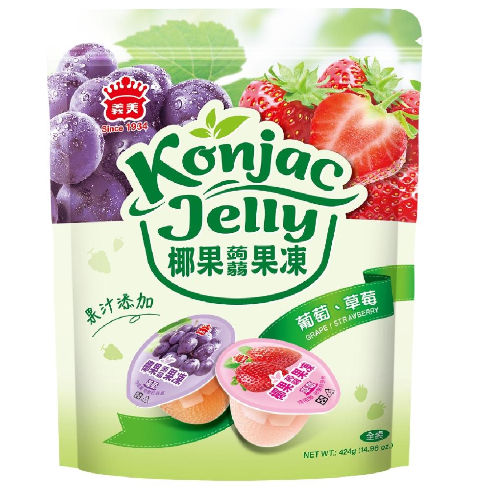 義美椰果蒟蒻果凍(葡萄+草莓)424g
