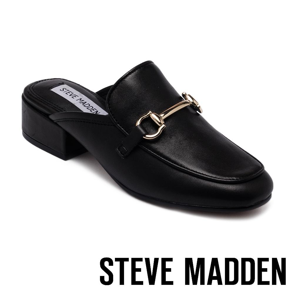 STEVE MADDEN-JALON 潮流金屬馬銜扣真皮粗跟穆勒鞋-黑色