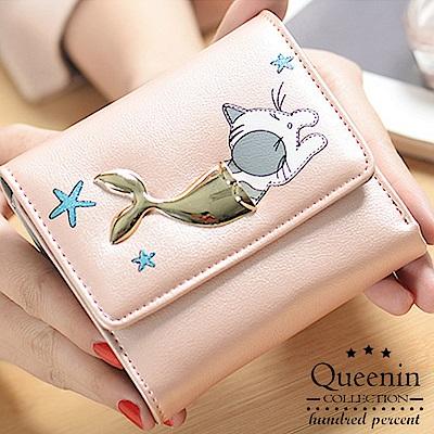 DF Queenin日韓 - 甜美日系珠光貓魚可拆式零錢包短夾