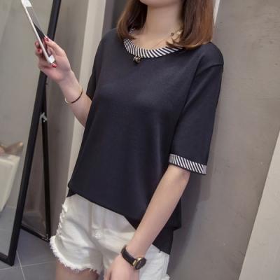 2F韓衣-簡約條紋領拼接造型上衣-2色(XL-3L)