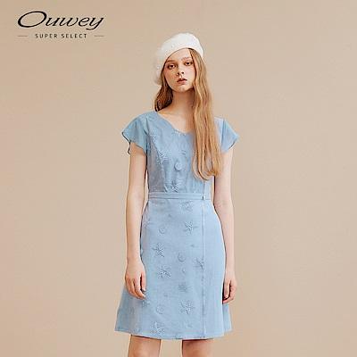 OUWEY歐薇 浪漫海洋刺繡活片洋裝(藍)