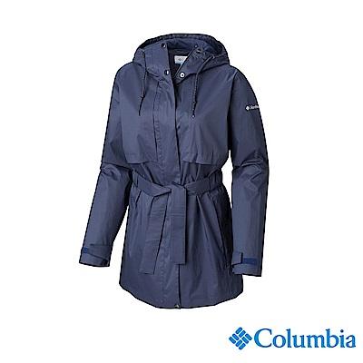Columbia 哥倫比亞 女款-防小雨長版風雨衣-墨藍 UWL01640