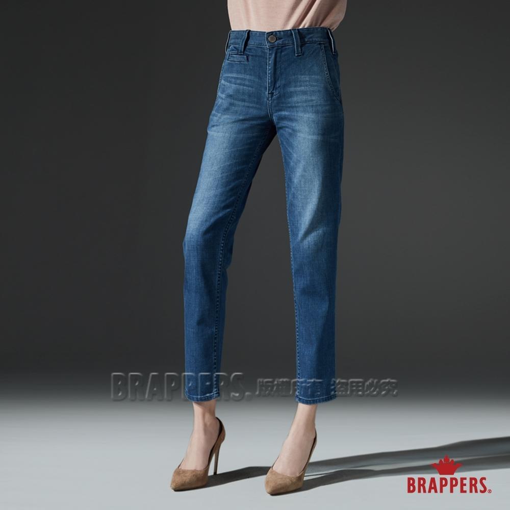 BRAPPERS 女款 Boy friend系列-中低腰天絲棉彈性八分褲-藍