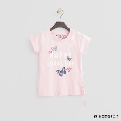 Hang Ten -童裝 - 有機棉-可愛圖樣側抽繩短袖T - 粉