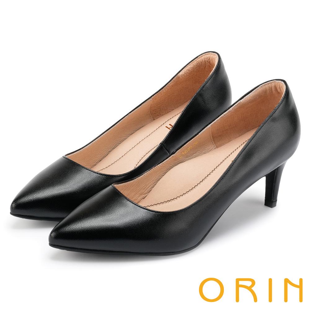 ORIN 典雅氣質 簡約素面羊皮尖頭高跟鞋-黑色