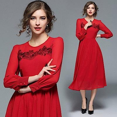 紅色雪紡繡花洋裝連身裙M-2XL-M2M