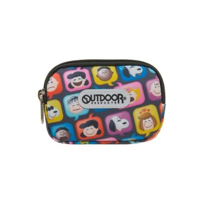【OUTDOOR】SNOOPY聯名款emoji雙拉鍊零錢包-黑 ODP21A03BK