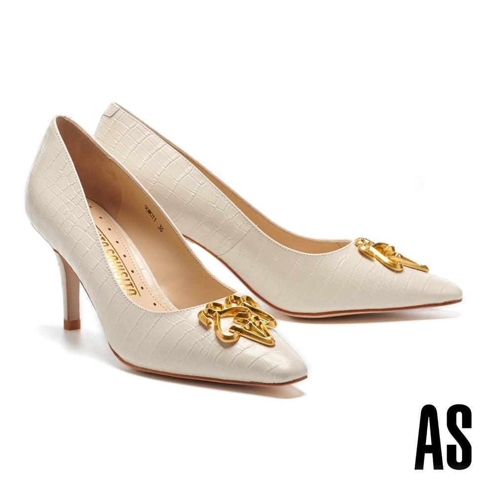 高跟鞋 AS 內斂奢華鍍金LOGO 鱷魚紋小方頭高跟鞋-米