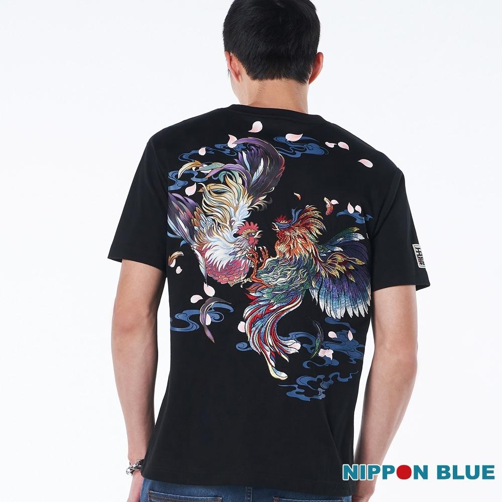 日本藍 BLUE WAY – 進口金標-破曉鬥雞短TEE(黑)