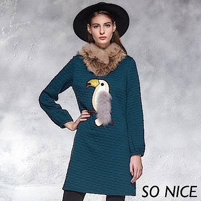 SO NICE氣質毛絨大嘴鳥刺繡洋裝 @ Y!購物