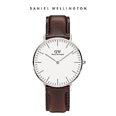 DW 手錶 官方旗艦店 36mm銀框 Classic 深棕真皮皮革錶