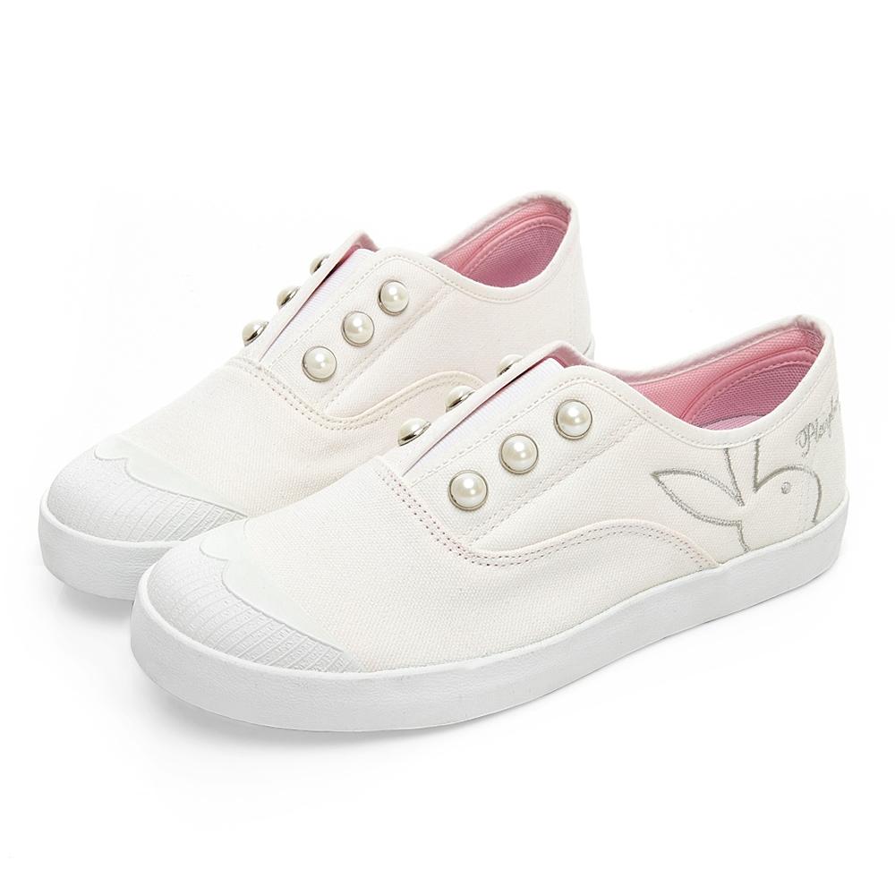 PLAYBOY 大珍珠裝飾帆布懶人鞋-白-Y570311