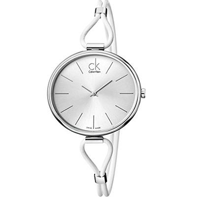 CK 細皮繩時尚環錶-銀白(K3V231L6)/38mm