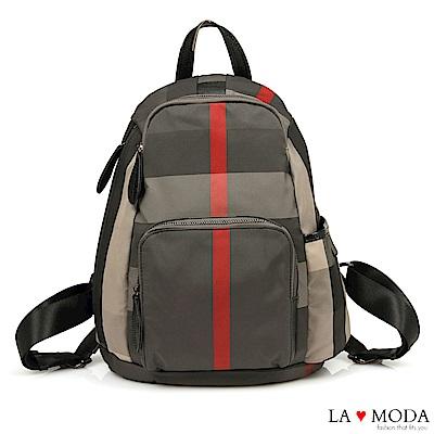 La Moda 出遊首選完全防盜後背拉鍊設計防潑水大容量後背包(格紋)