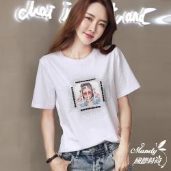 Mandy國際時尚  亮鑽人物印花韓系T恤_預購【韓國服飾】