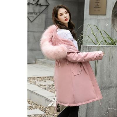 2F-韓系大毛領排釦造型收腰長版外套-粉-XL