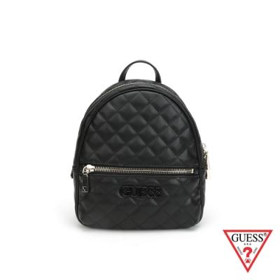GUESS-女包-素面菱形壓紋後背包-黑