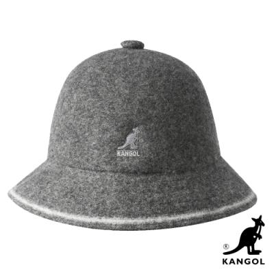 KANGOL-WOOL STRIPE鐘型帽-灰色