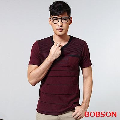 BOBSON 男款V領配色上衣