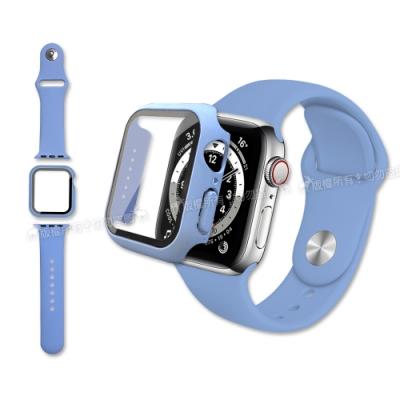 全包覆 Apple Watch Series SE/6/5/4 (44mm) 9H鋼化玻璃貼+錶殼+環保矽膠錶帶(淺紫)