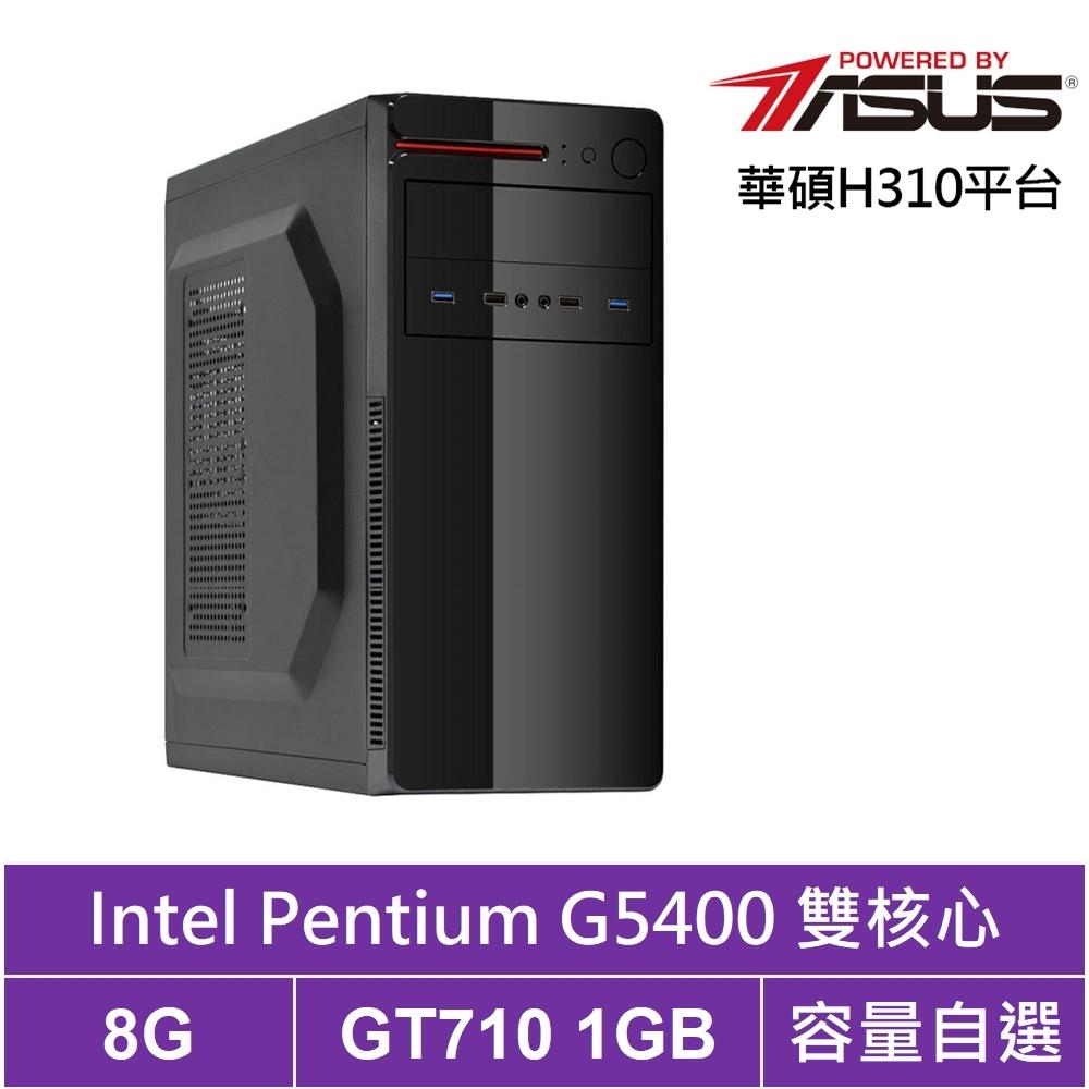 華碩H310平台[黑闇重盾]雙核GT710獨顯電腦