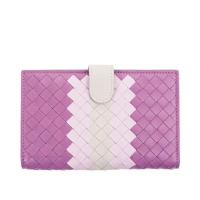 BOTTEGA VENETA 經典小羊皮雙色編織對折中夾 (紫粉)