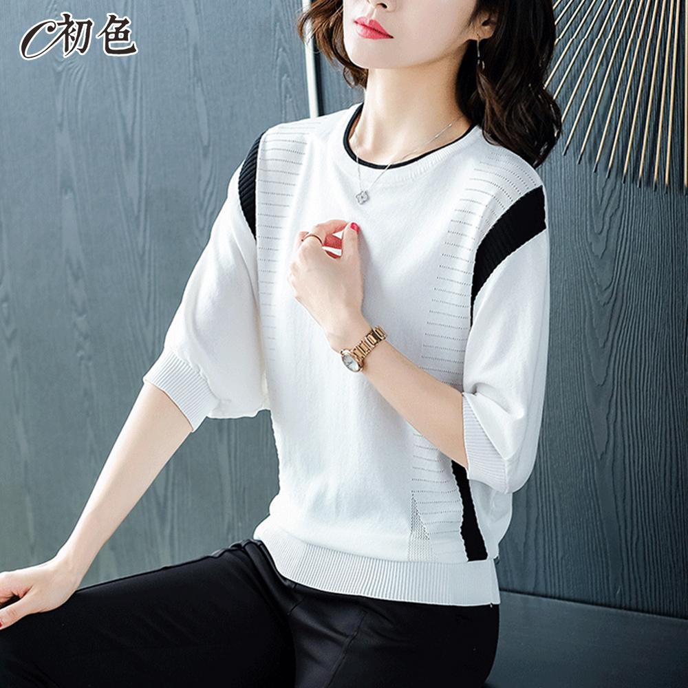 初色  冰絲鏤空蝙蝠袖針織衫-共3色-(F可選)
