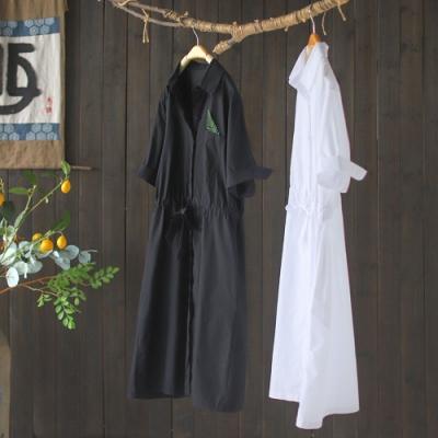 純棉抽繩收腰寬鬆顯瘦時尚氣質洋裝-設計所在