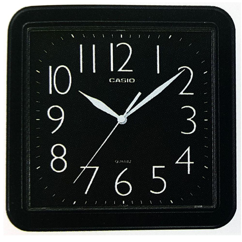 CASIO 流線大方指針方形掛鐘(IQ-02S-1)-黑/24.5cm