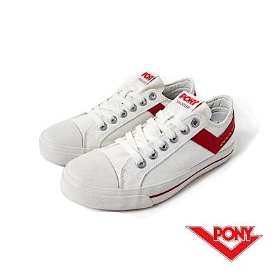【PONY】SHOOTER系列-復古帆布鞋款-女-白