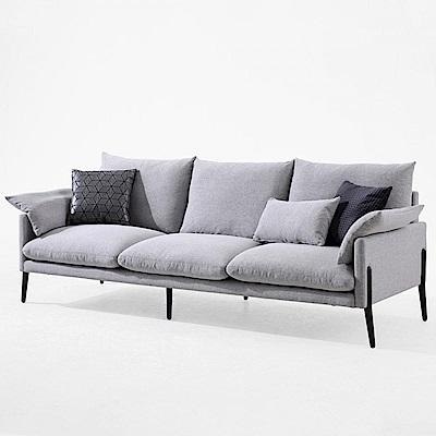 hoi! 輕奢現代可拆洗北歐三人布沙發(附抱枕)  RAG1K-淺灰色 (H014263190)