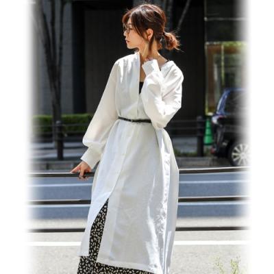 Fashion Letter 圓領前後排扣長版襯衫罩衫-M(共三色)