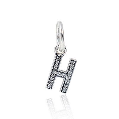 Pandora 潘朵拉 垂墜字母H亮鑽 純銀墜飾 串珠