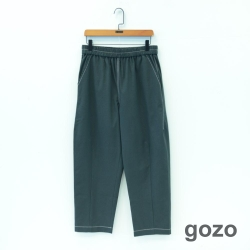 gozo 配色壓線素面鬆緊長褲(二色)