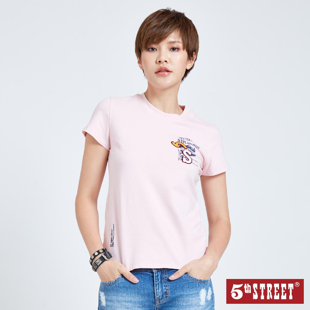 5th STREET 毛巾繡LOGO短袖T恤-女-粉紅色