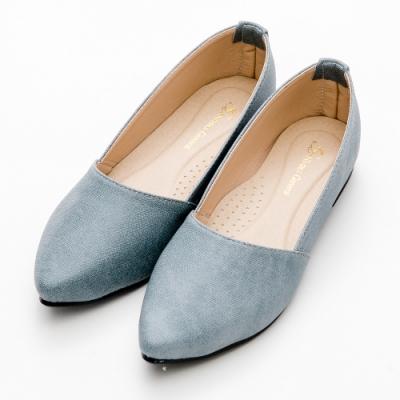 River&Moon平底鞋 台灣製極簡素面Q軟底尖頭平底鞋 灰藍
