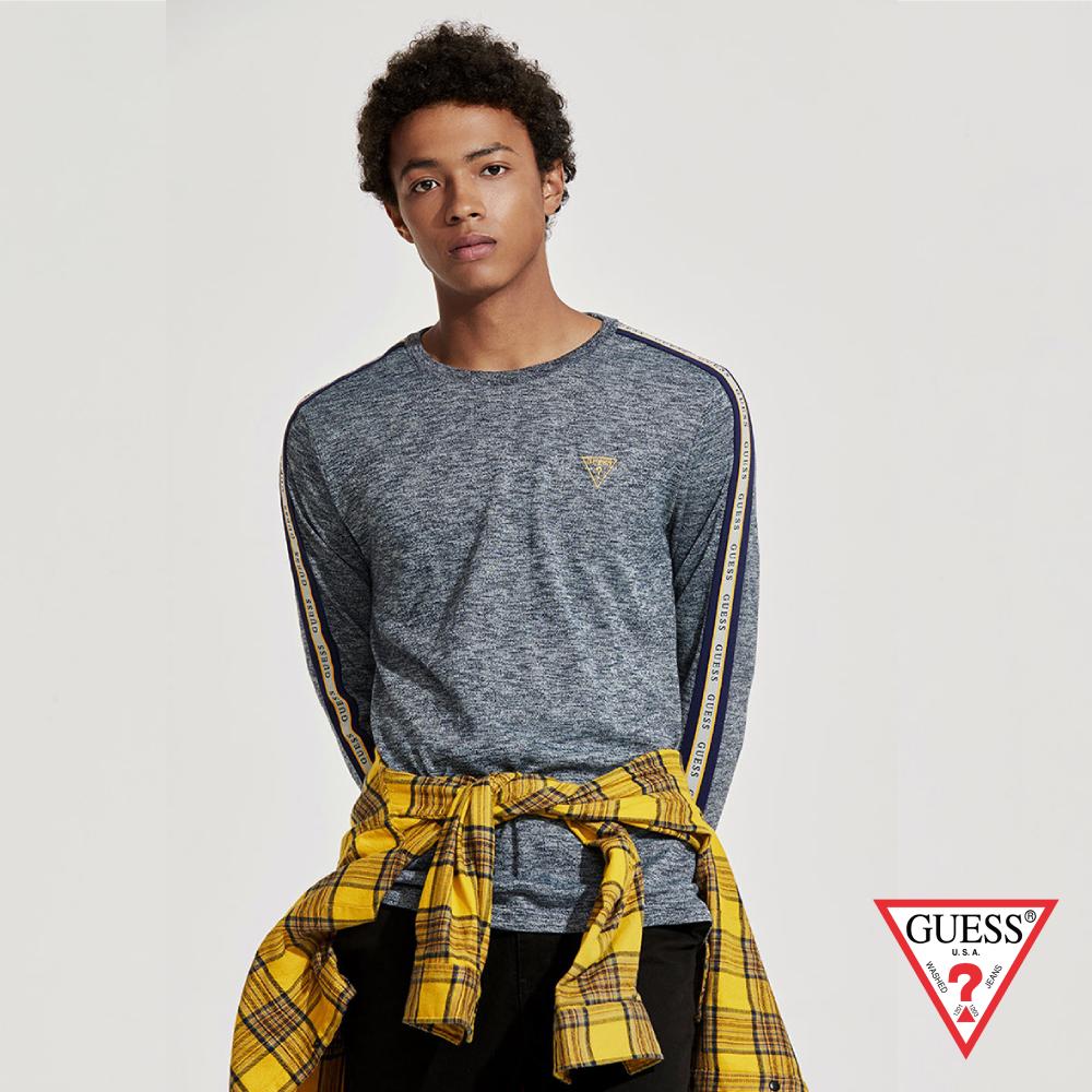 GUESS-男裝-純色圓領長袖上衣-淺灰 原價2490
