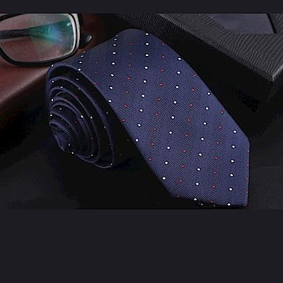 拉福   領帶中窄版領帶6cm領帶拉鍊領帶(紅白點)