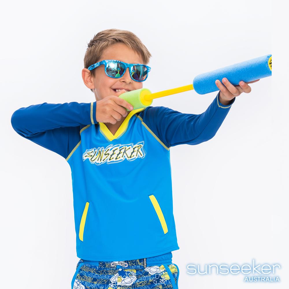 澳洲Sunseeker泳裝抗UV防曬連帽長袖泳衣-大男童藍