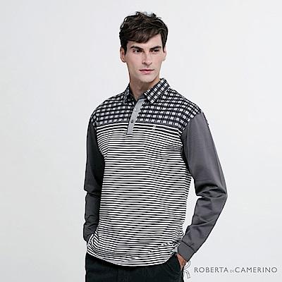 ROBERTA諾貝達 台灣製 時尚型男 純棉長袖POLO衫HBD14-97鐵灰