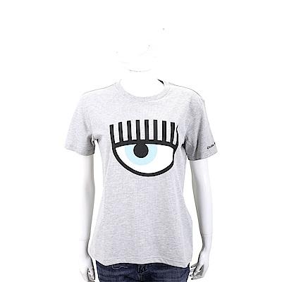 Chiara Ferragni Flirting 眨眼圖騰灰色棉質短T恤