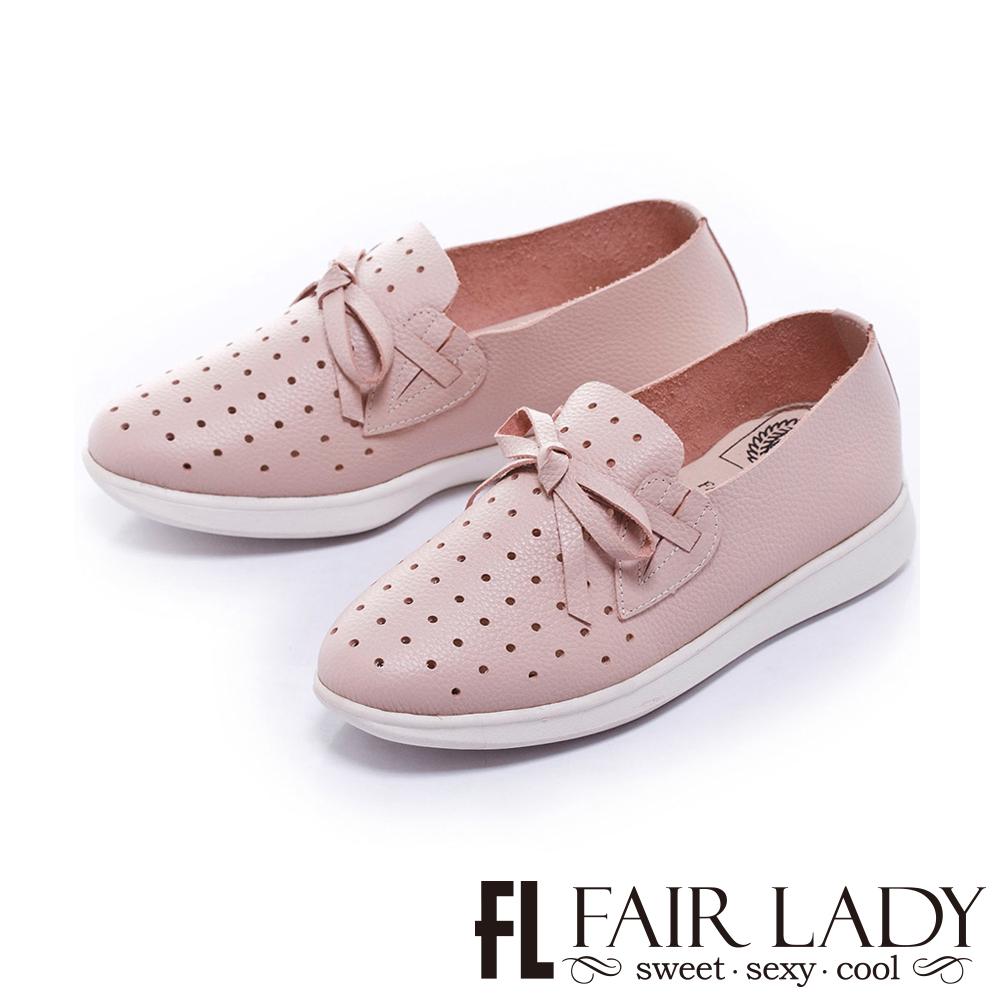 Fair Lady Soft Power軟實力蝴蝶結縷空舒適便鞋 粉