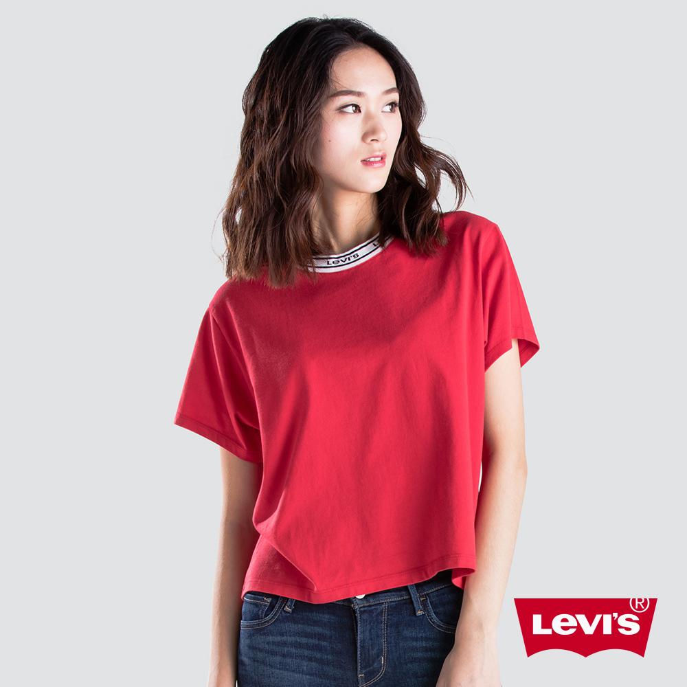 Levis 女款 短袖T恤 中短版 Logo 領口