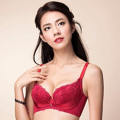 摩奇X 雙挺胸罩 D-E 罩杯調整型內衣(胭脂紅)