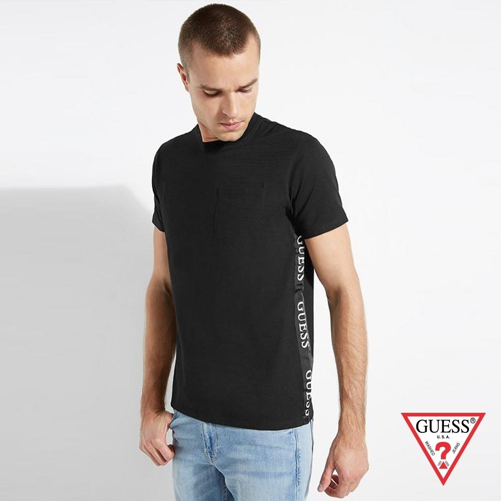 GUESS-男裝-素色簡約LOGO短袖上衣-黑