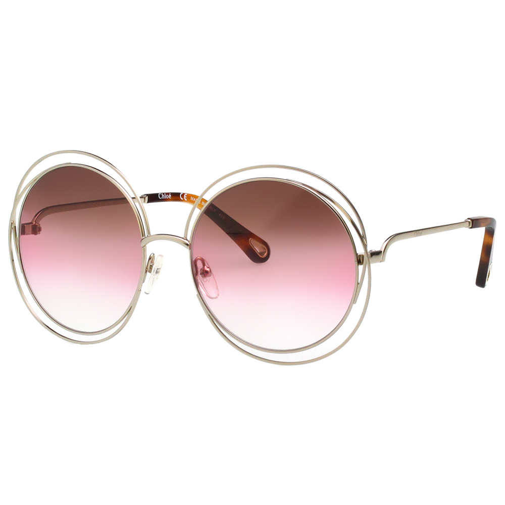 CHLOE 圓框 太陽眼鏡 淡金色 CE114SD(小面版並可裝眼鏡鏈)