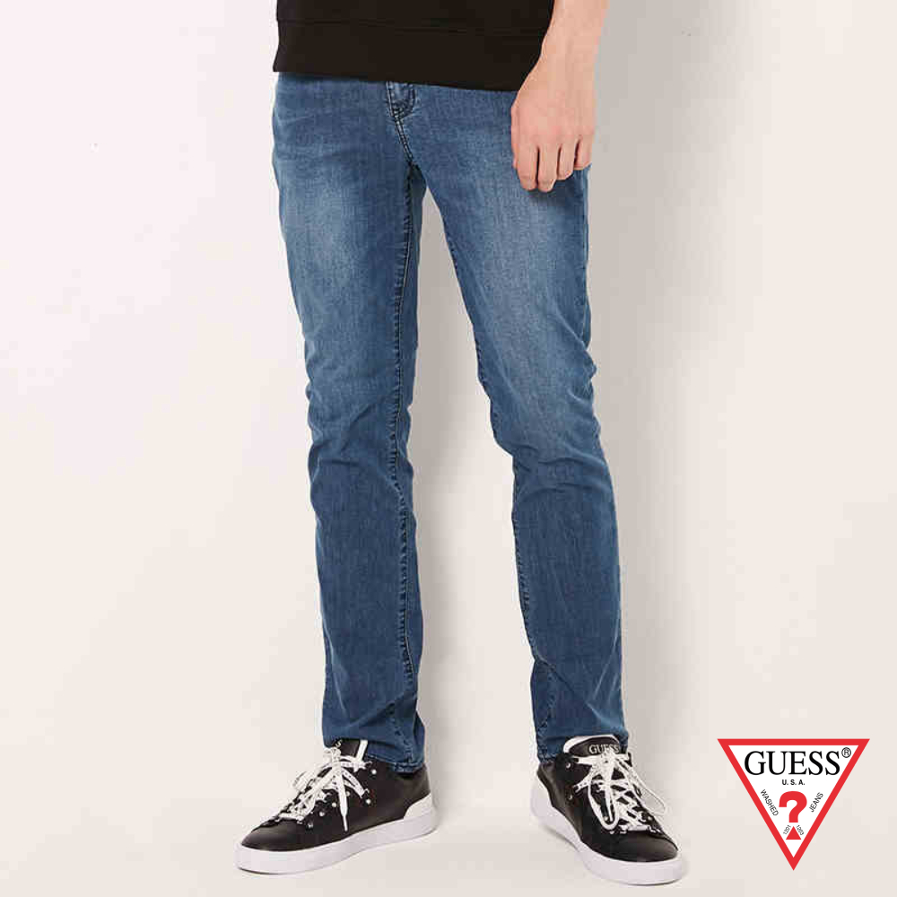 GUESS-男裝-簡約個性直筒牛仔褲-藍 原價4990