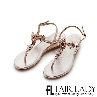 Fair Lady 水鑽寶石夾腳楔型涼鞋 粉