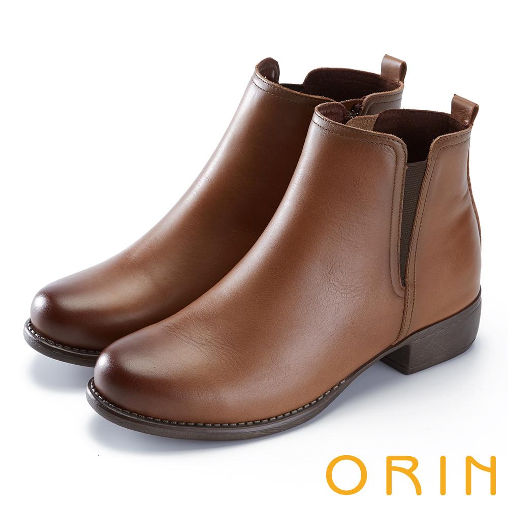 ORIN 簡約個性 復古牛皮拉鏈低跟短靴-棕色