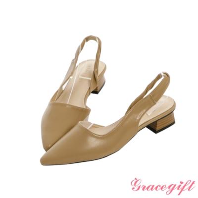 Grace gift-尖頭扭結側空低跟鞋 杏